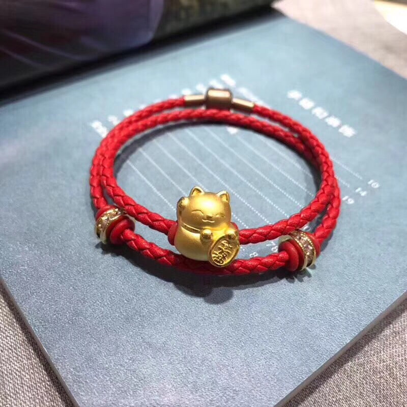18k gold fortune bringer cat leather bracelet - Xingjewelry