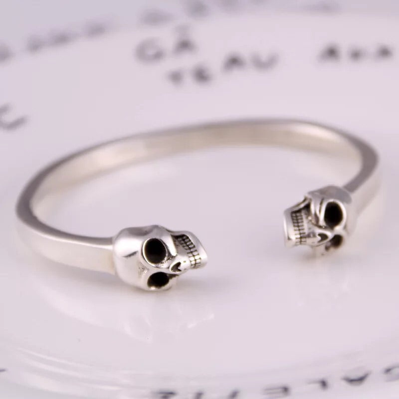 925 sterling silver skull head open bangle bracelet - Xingjewelry