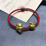 18k gold Fortune bringer cat Chinese fu red bracelet - Xingjewelry