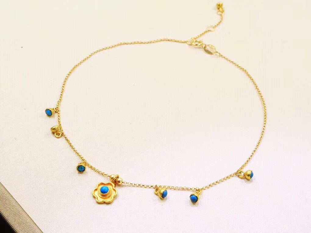 18k gold turquoise flower adjustable bracelet - Xingjewelry