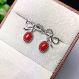 Gold plate red coral earring