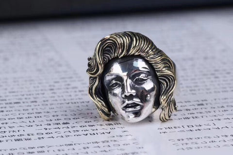 925 silver fashion girl open ring Marilyn Monroe ring