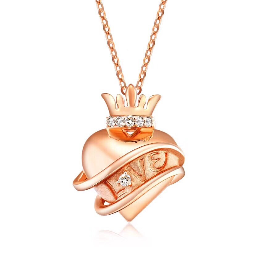 18k 3D gold love heart crown necklace - Xingjewelry