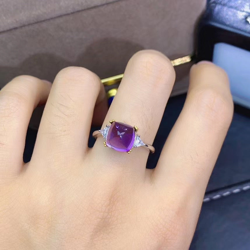 925 sterling silver Natural purple crystal stone ring