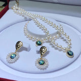 Fresh water pearl necklace bracelet earring set