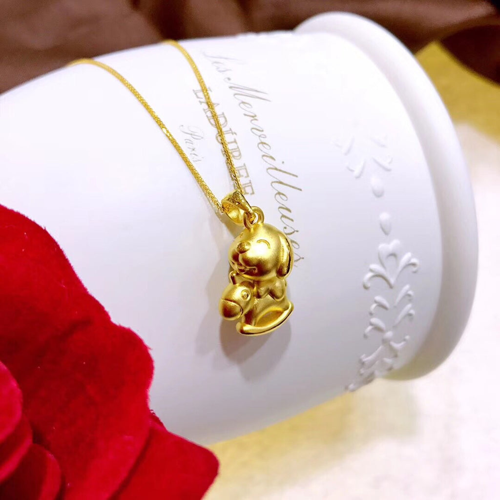 18k horse riding dog necklace new year dog year  wealthy gift - Xingjewelry
