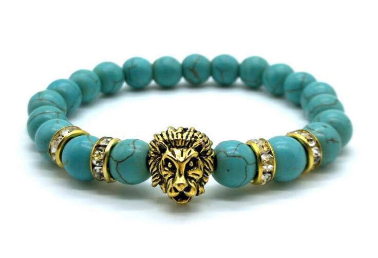 Turquoise stone gold lion head bracelet - Xingjewelry