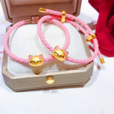 Solid gold cute fox charm pink leather bracelet