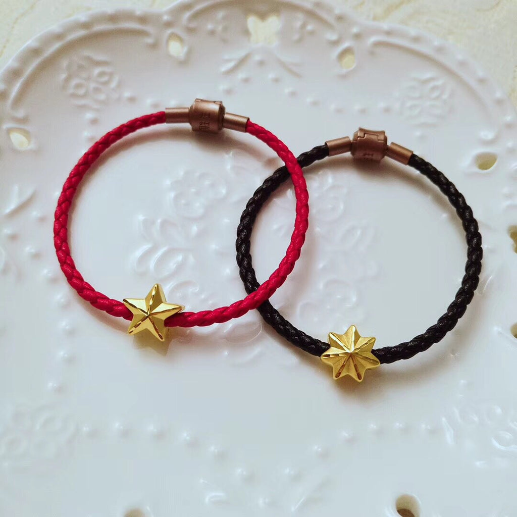 18k gold star leather bracelet - Xingjewelry