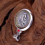 925 sterling silver Indian skull feather pendant - Xingjewelry
