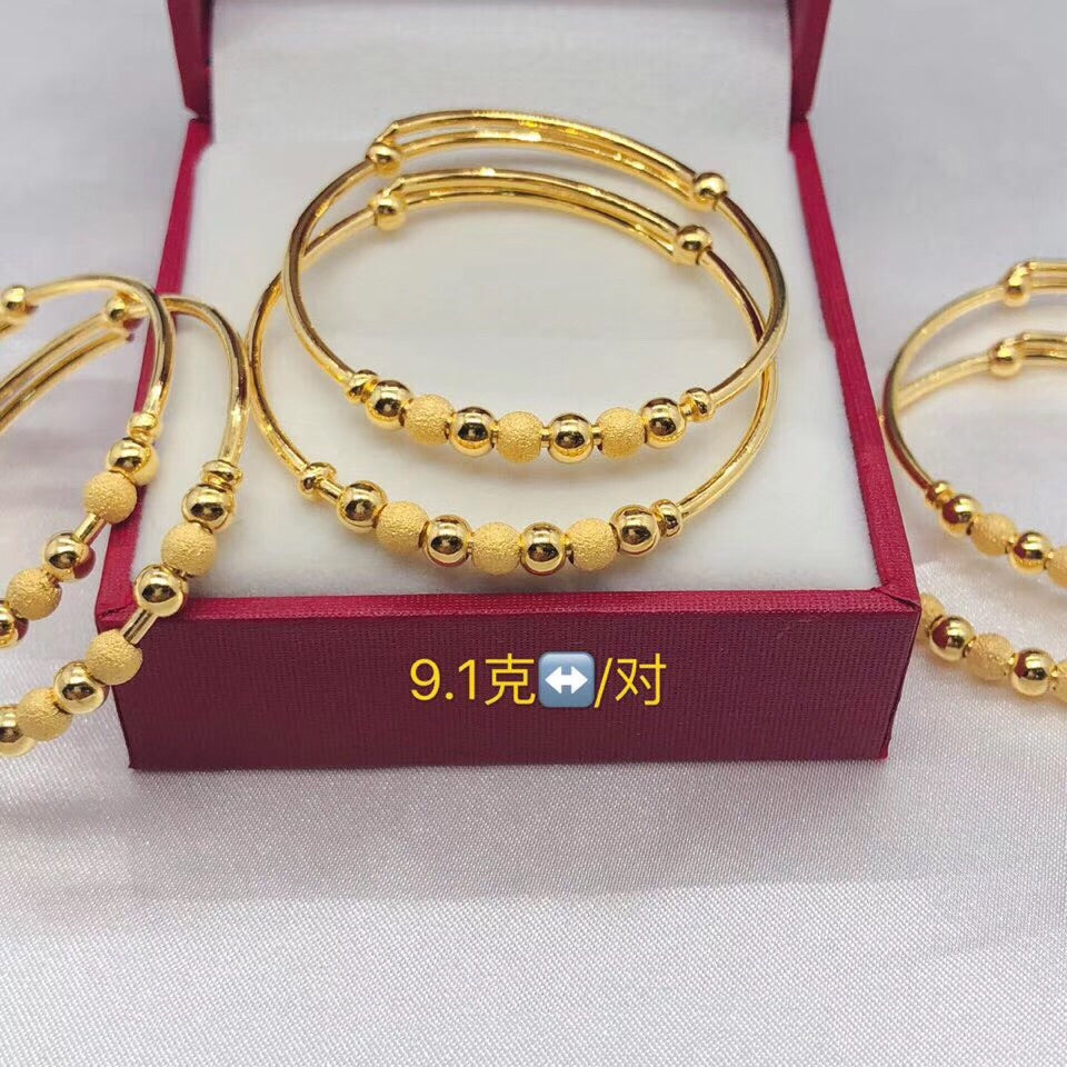 999 solid gold bead bangle bracelet 2pcs a pair - Xingjewelry