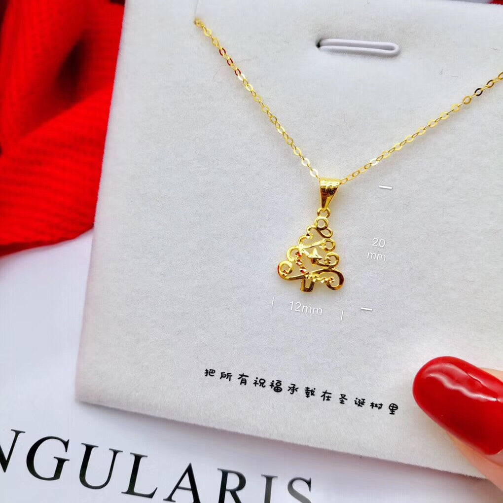 18k gold Christmas tree make wish necklace - Xingjewelry
