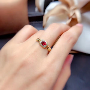 Gold plate red garnet stone ring
