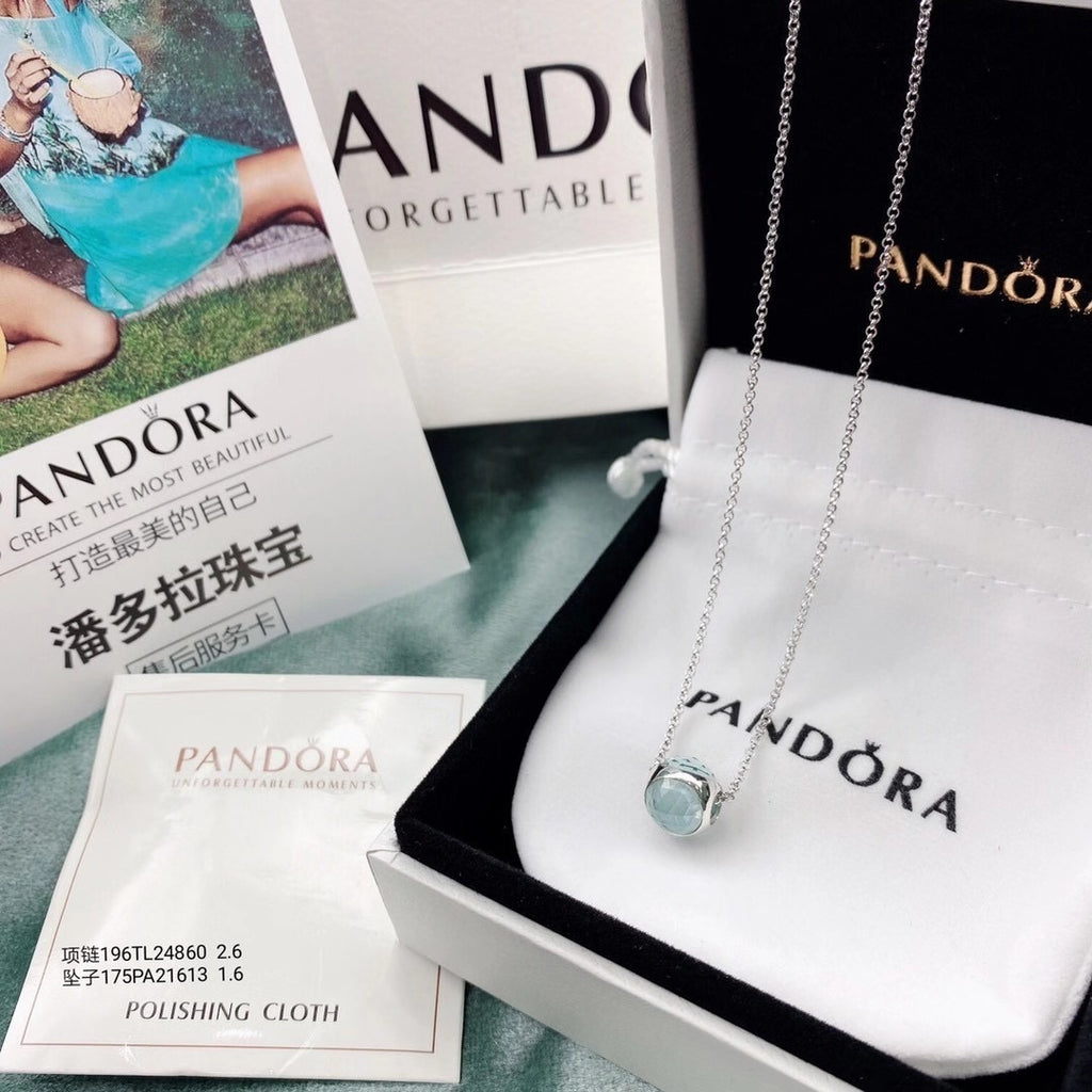 Pandora cat eye stone charm necklace