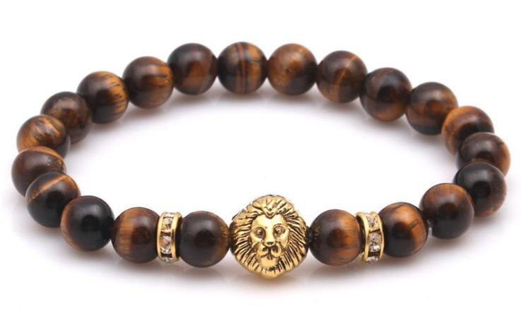 Tiger eye stone lion head bracelet - Xingjewelry