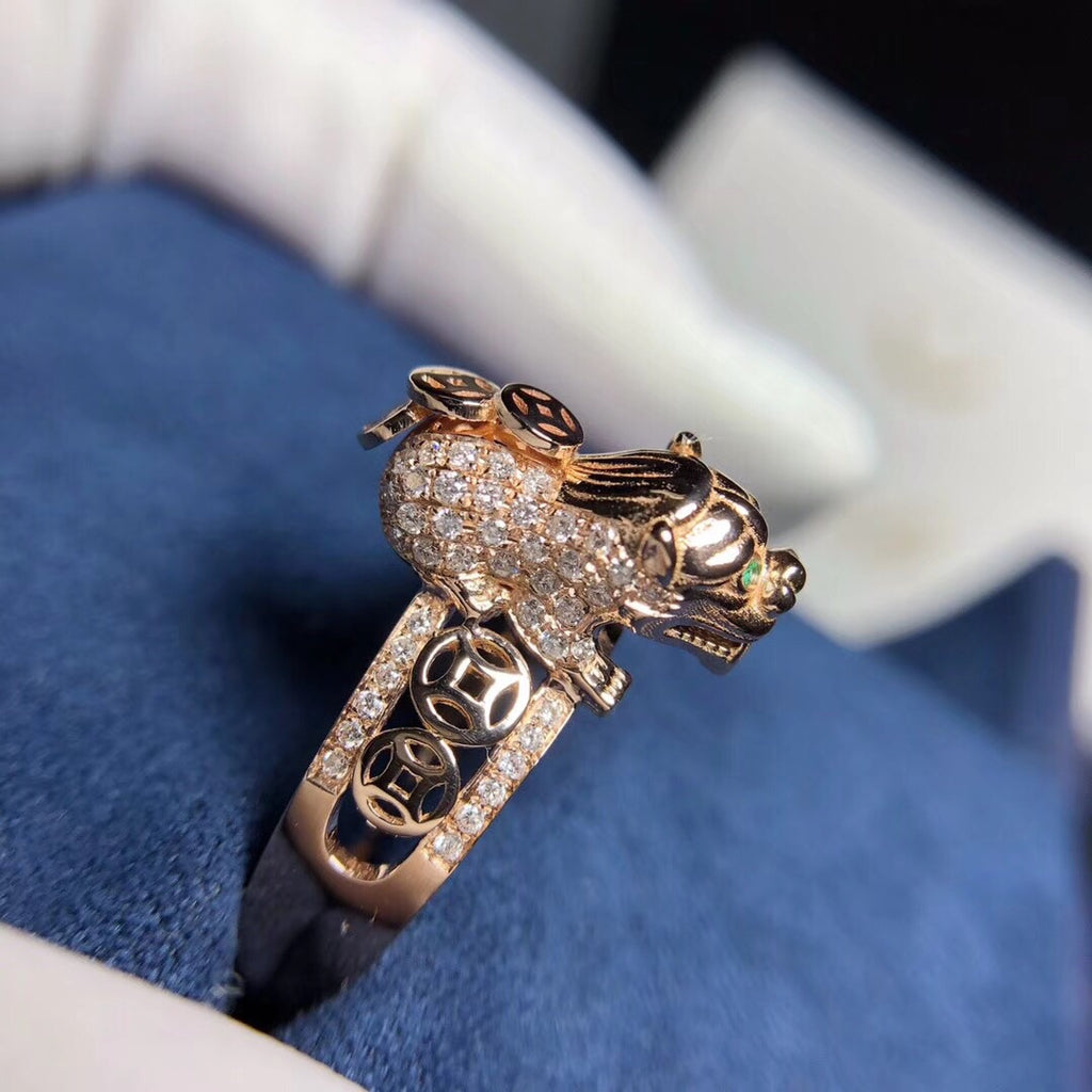18k solid gold mythical wild animal ring - Xingjewelry