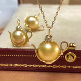 18k gold Aladdin south sea golden pearl bead pendant necklace - Xingjewelry