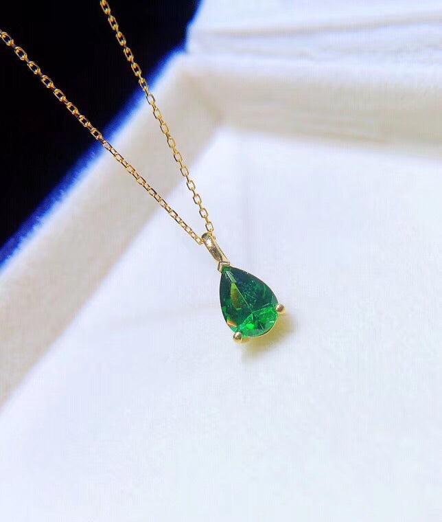 18k gold diopside pendant necklace - Xingjewelry