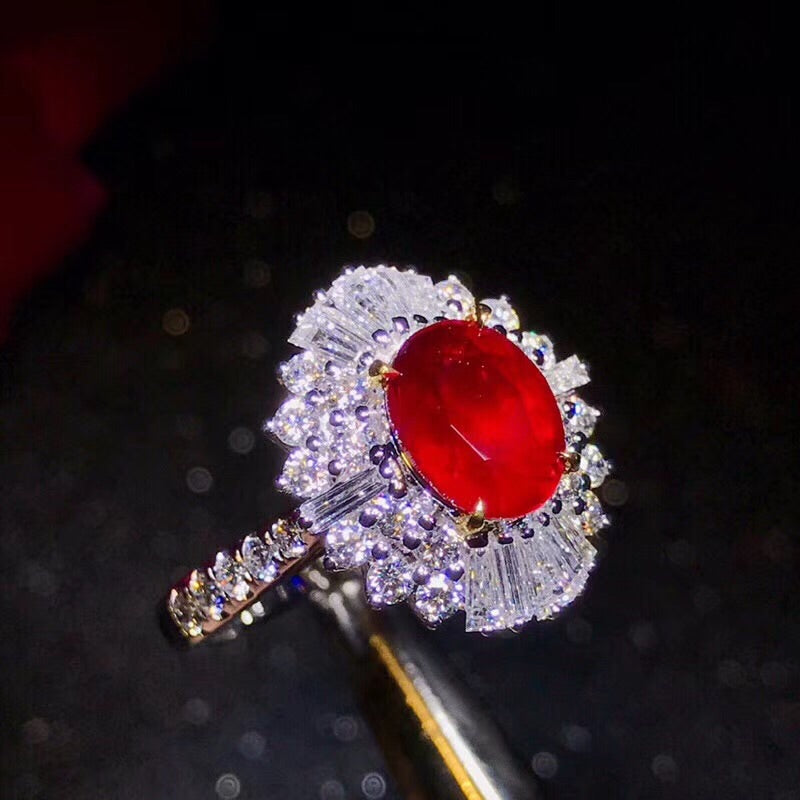 18k elegant white gold Mozambique ruby diamond ring - Xingjewelry