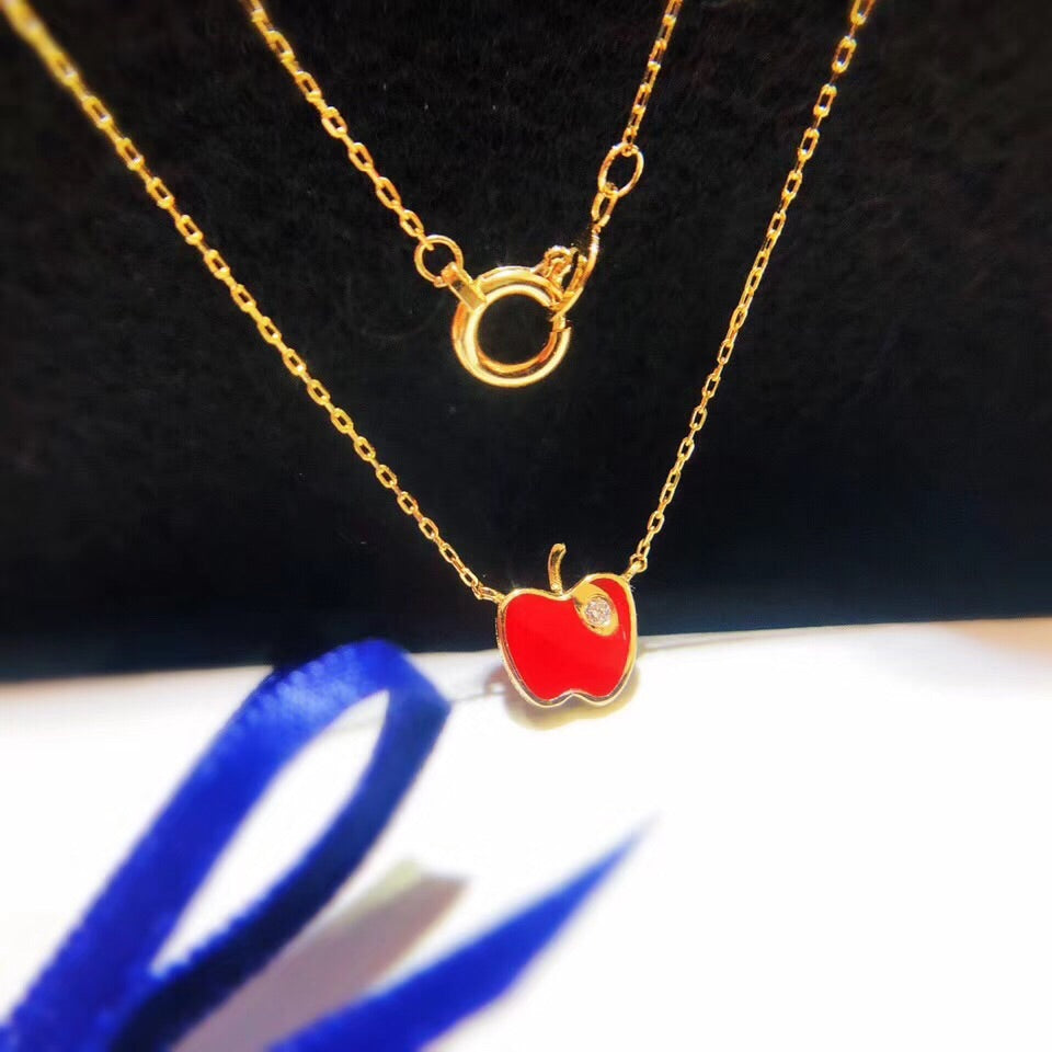 18k gold red apple necklace - Xingjewelry