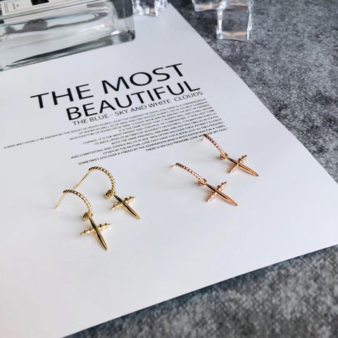 18k gold cross earring