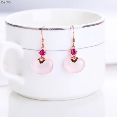 925 silver pink crystal earring - Xingjewelry