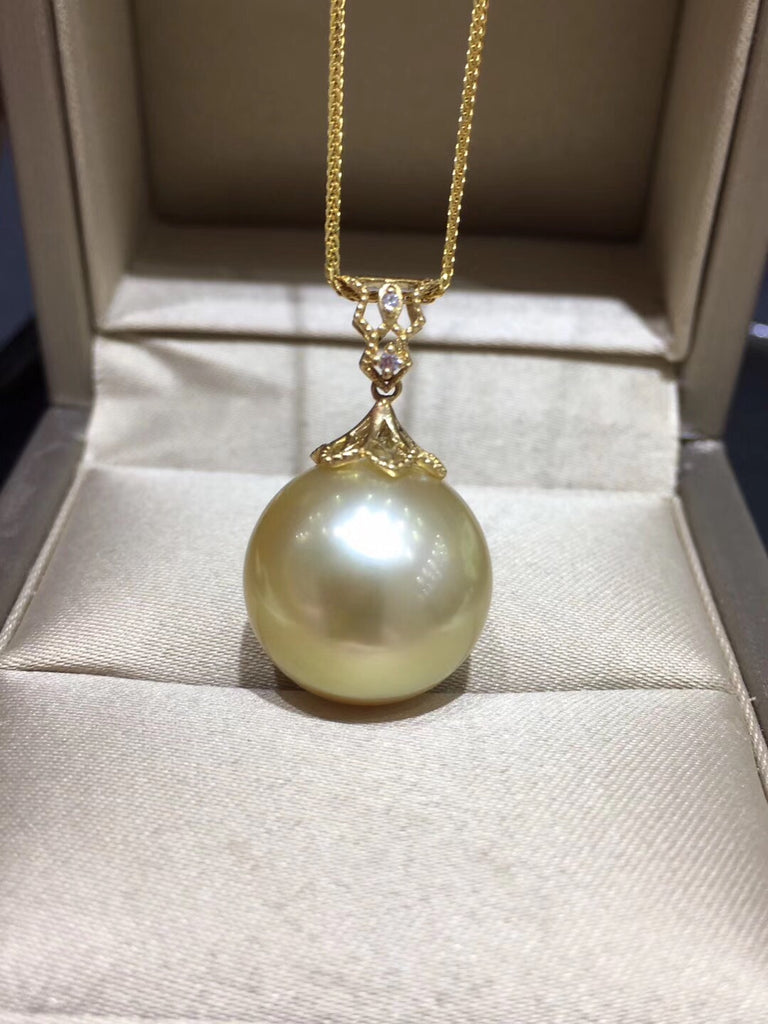 18k gold lace golden pearl pendant necklace - Xingjewelry