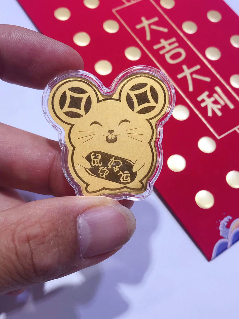 18k gold mouse phone sticker car hanging piece