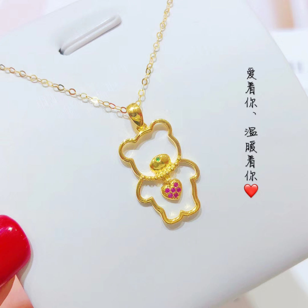 18k gold ruby bear necklace