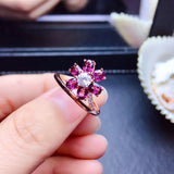 Sterling silver garnet stone flower ring