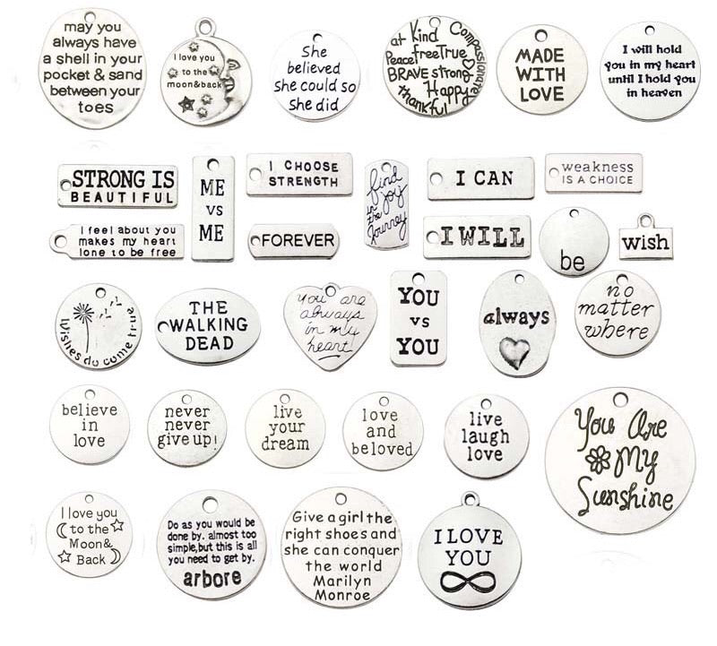 Alloy metal tag printed tag charms