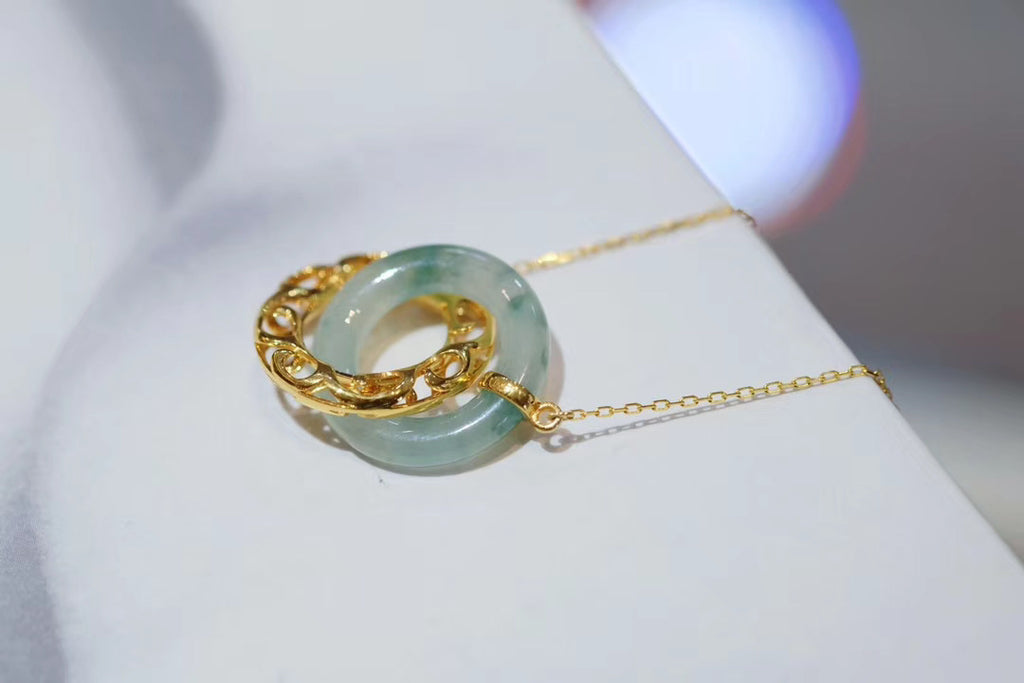 18k gold green jade double ring pendant necklace