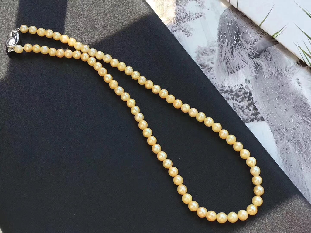 Sterling silver akoya gold pearl necklace