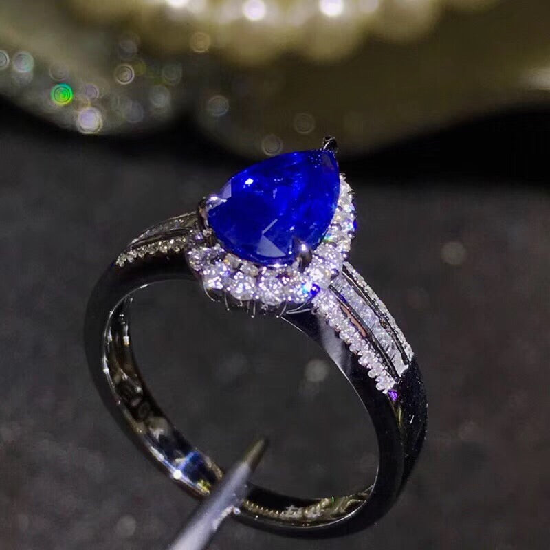 18k white gold blue sapphire diamond ring - Xingjewelry