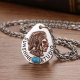925 sterling silver Indian chief pendant necklace - Xingjewelry