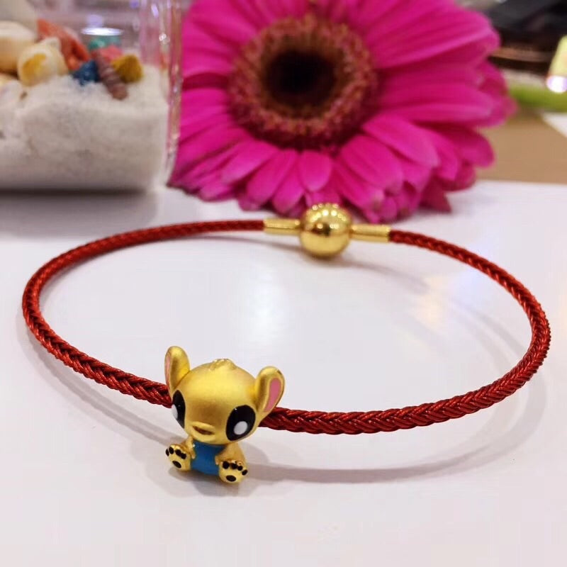 18k gold stich red chain charm bracelet - Xingjewelry
