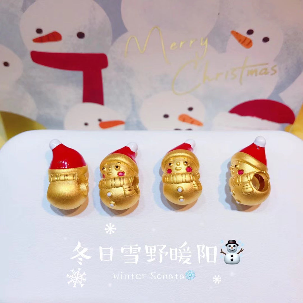 Christmas Santa Claus gold charm is 圣诞串珠