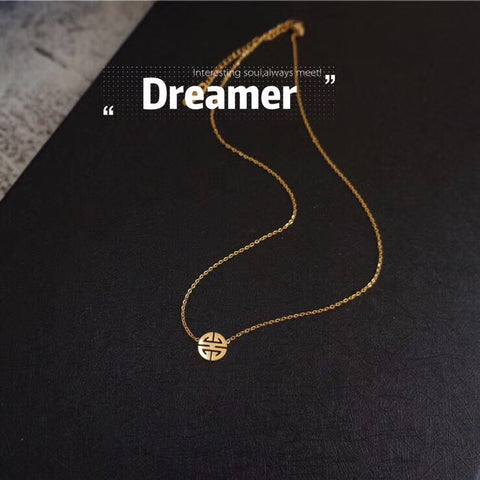 18k gold chinese fu pendant pendant necklace - Xingjewelry