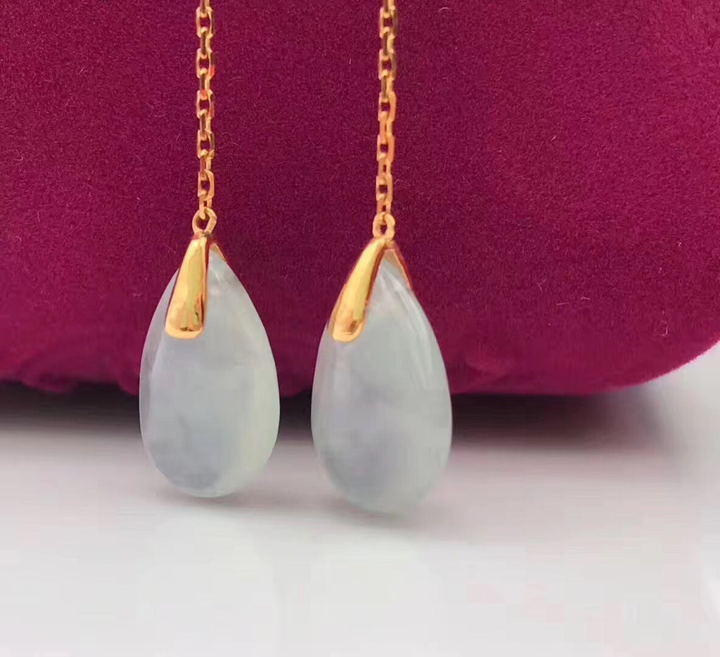 Gold chain blue sapphire Water drop jade earring