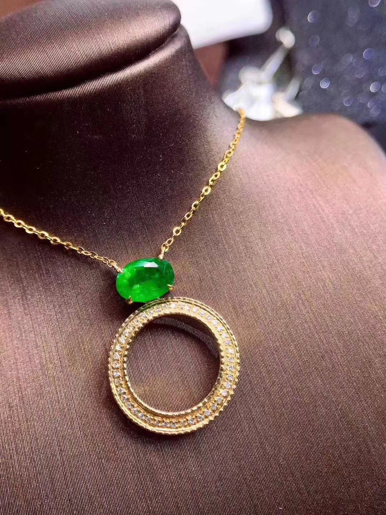 Sterling silver 银 镀金 with gold plate emerald ring necklace