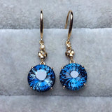 18k gold blue topaz earring set - Xingjewelry