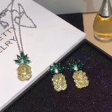925 silver Pineapple yellow necklace earring set - Xingjewelry