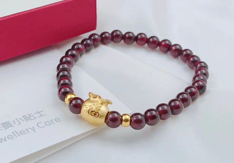 18k gold Chinese fu bag red garnet bracelet - Xingjewelry
