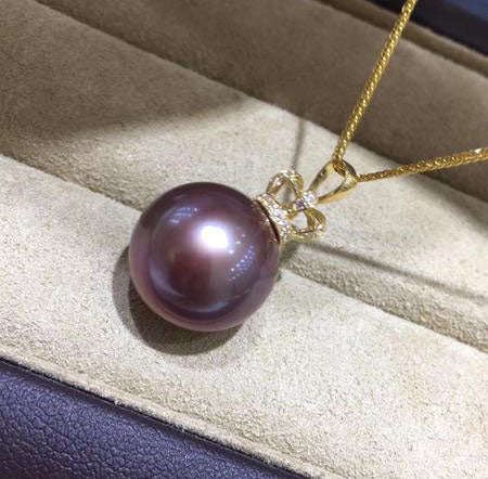 18k gold tahitian purple  pearl pendant necklace - Xingjewelry