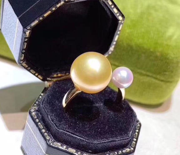 18k gold south sea pearl white pearl open ring - Xingjewelry