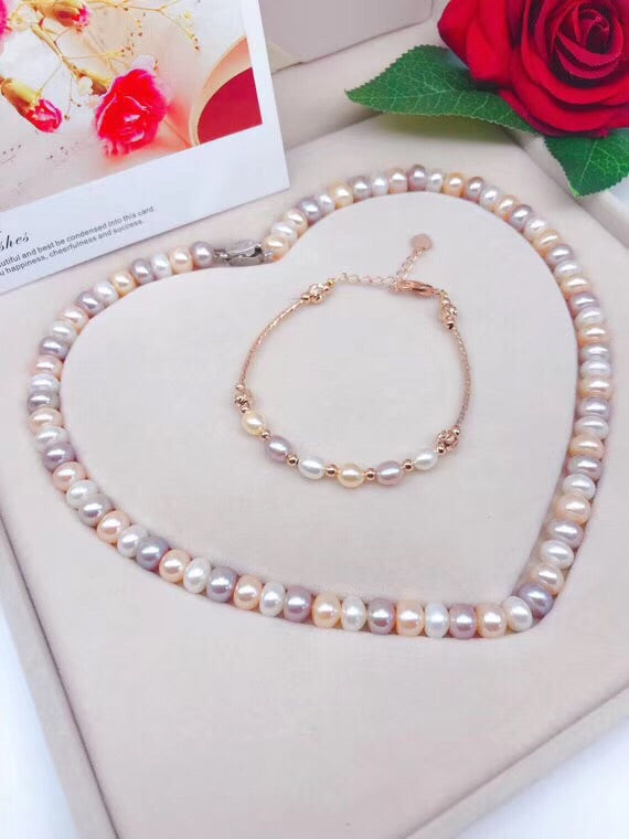 14k gold fresh water pearl necklace bracelet necklace set - Xingjewelry