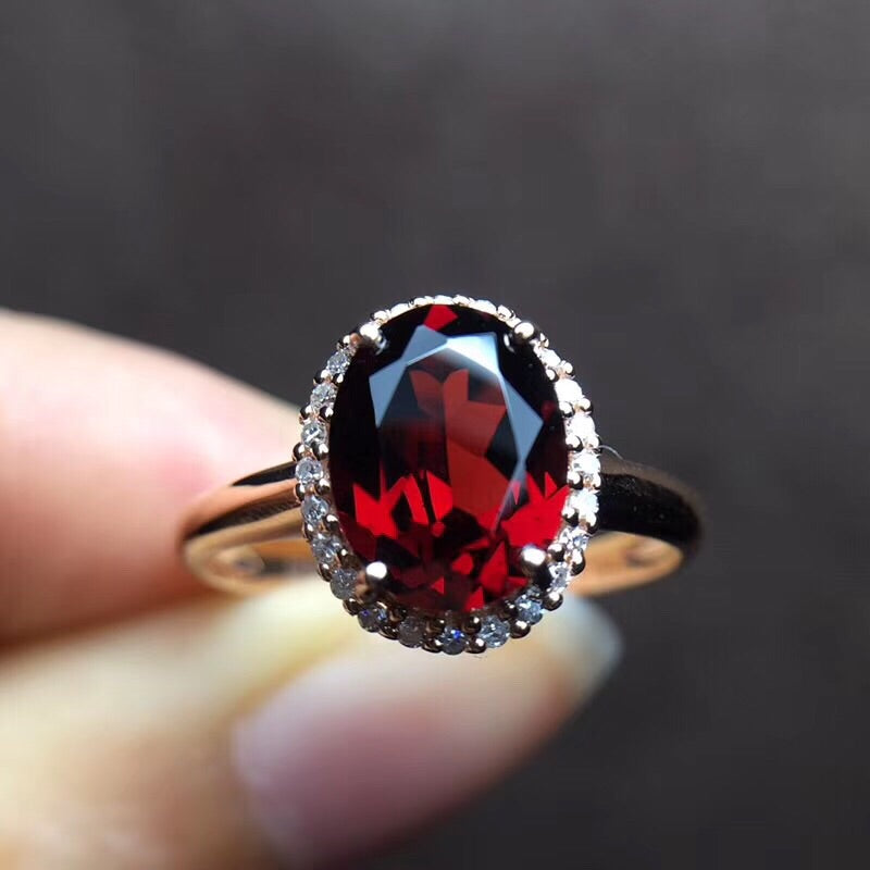 18k gold red garnet stone ring - Xingjewelry