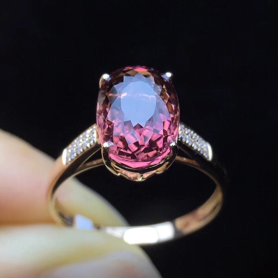 18k gold violet tourmaline oval stone ring - Xingjewelry