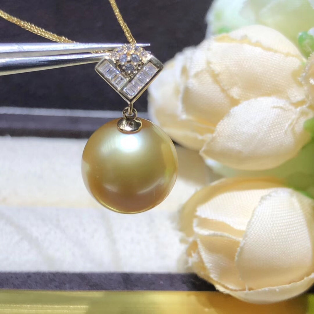 18k gold diamond south sea top quality golden pearl beige pendant necklace - Xingjewelry