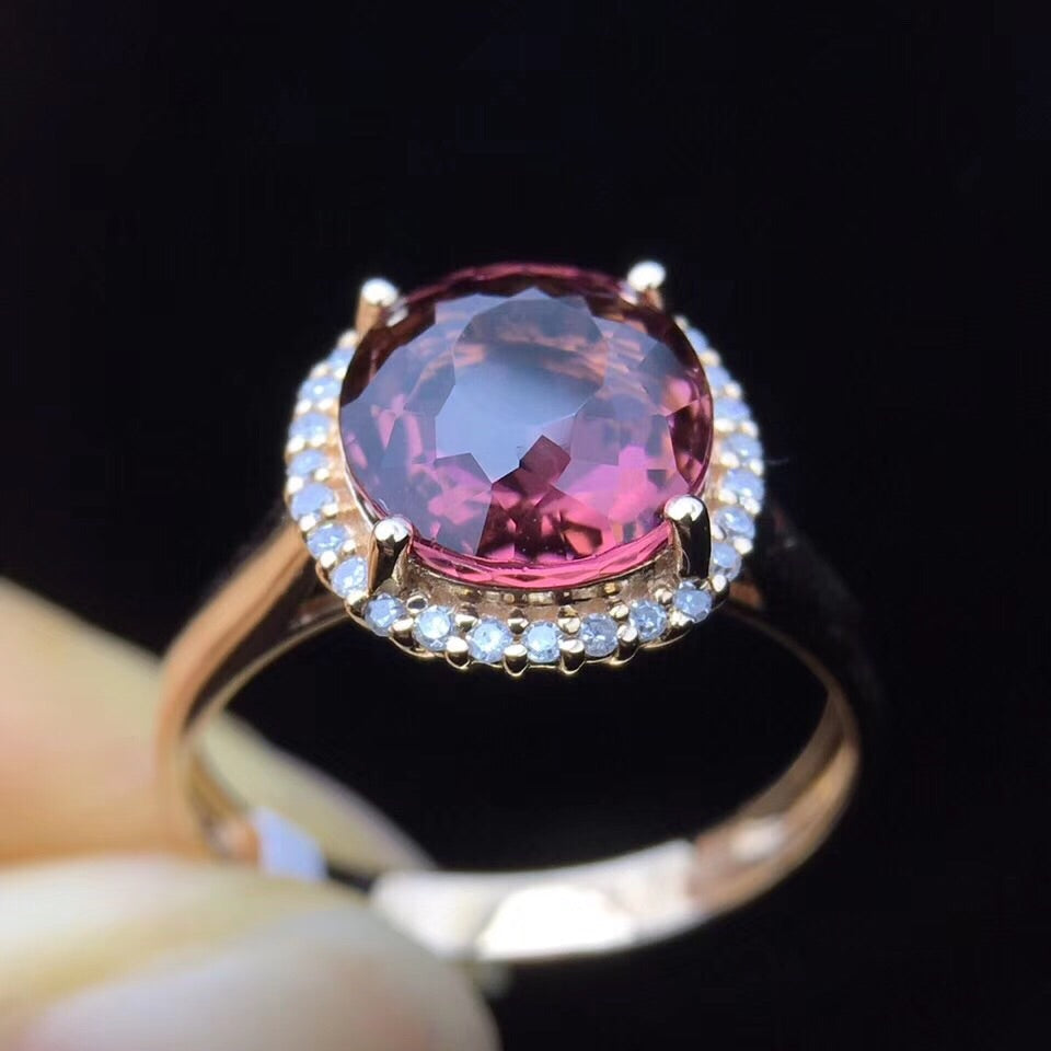 18k gold violet tourmaline stone diamond  ring - Xingjewelry